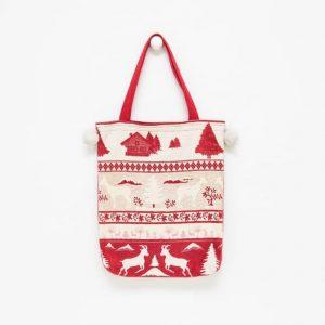 Borsa tessuto goblin con fantasia natalizia rossa e bianca