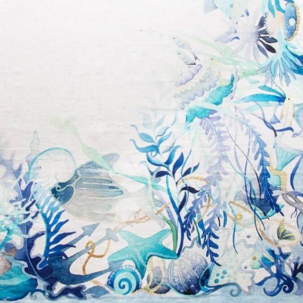 Dettaglio Tovaglia puro lino fantasia marina