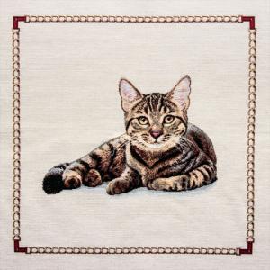 Dettaglio Trittico gobelin centrotavola gatto