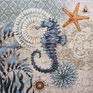 Dettaglio trittico corredo gobelin fantasia marina cavalluccio