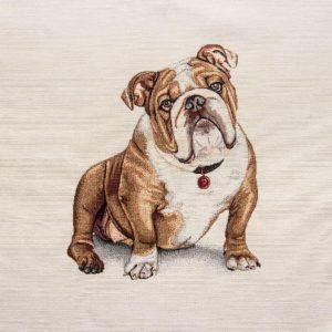 Dettaglio trittico gobelin cotone con cane bulldog