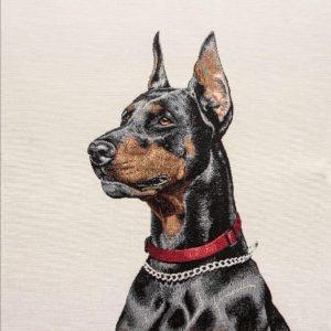 Dettaglio trittico gobelin cotone con cani
