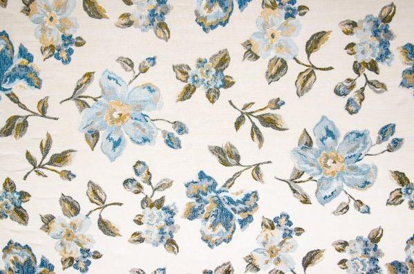 Tessuto d'arredamento a telaio fantasia floreale blu