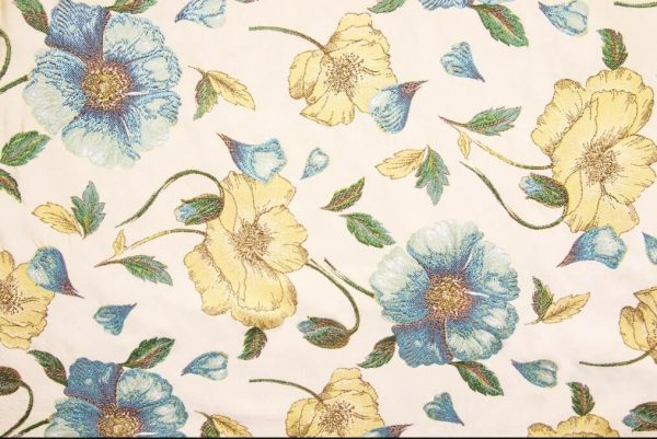 Tessuto d'arredamento cotone e seta spollinato fantasia floreale blu