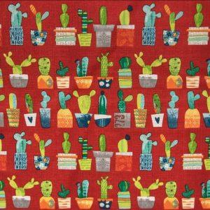 Tessuto d'arredamento rosso con cactus h.160