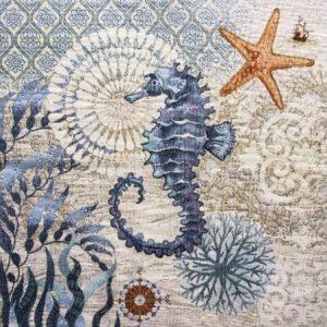 Trittico corredo gobelin fantasia marina cavalluccio