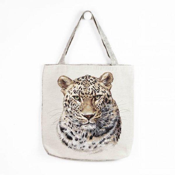 Borsa in tessuto con ghepardo