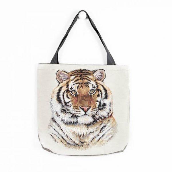 Borsa in tessuto con tigre