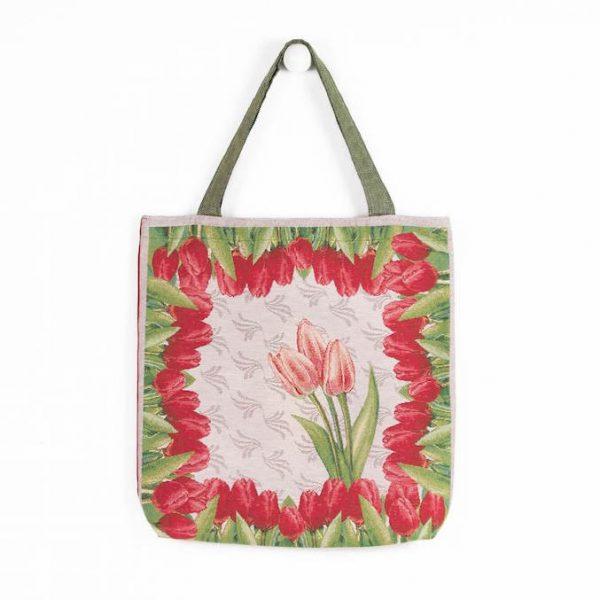 Borsa in tessuto con tulipani