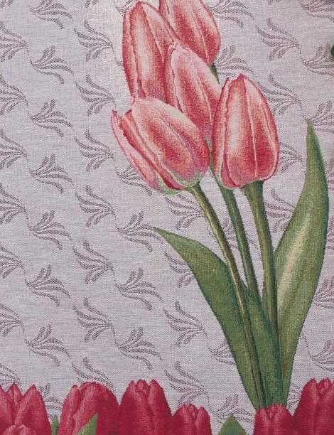 Dettaglio runner con tulipani