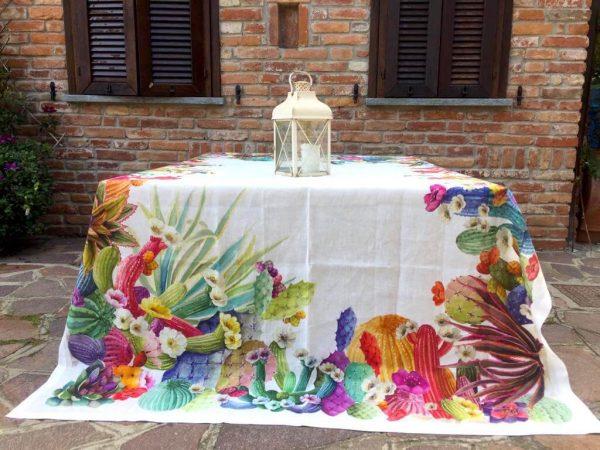 Tovaglia in lino con cactus