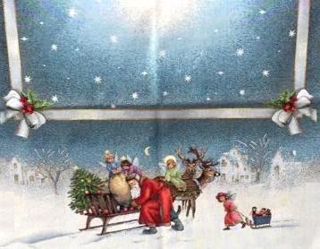 Dettaglio centrotavola natalizio con slitta