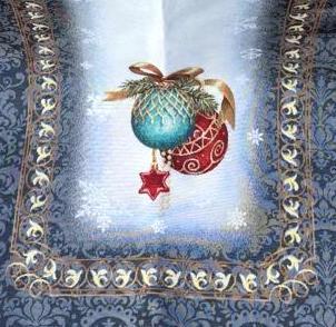 Dettaglio runner natalizio blu con palline