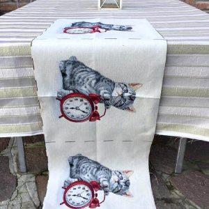 Trittico gobelin gatto e orologio